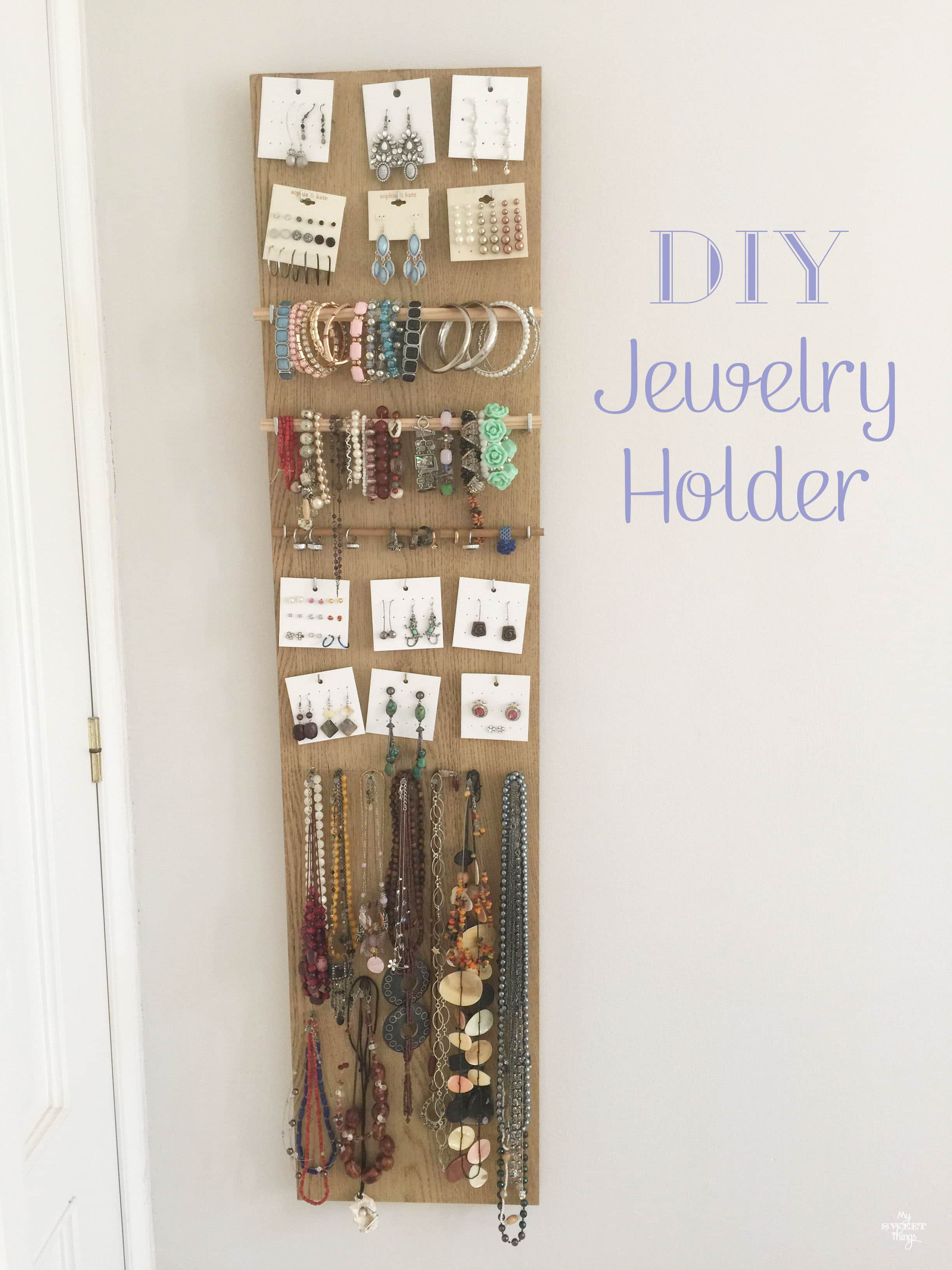 Awesome Diy Jewelry Holder Part - 10: Easy And Quick DIY Jewelry Holder Out Of Scrap Wood · Via Www.sweethings.