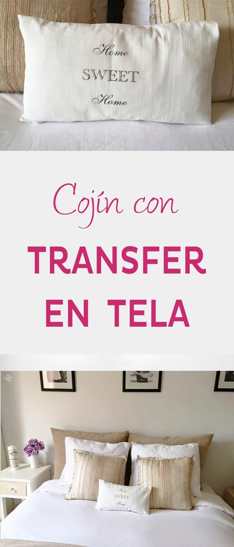 Como hacer un cojín con transfer en tela   ·   Via www.sweethings.net