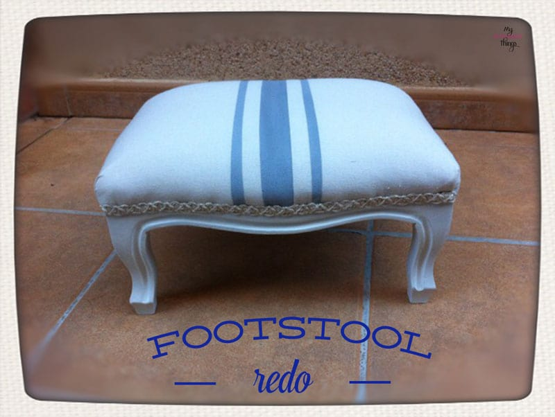 How to update easily a foot stool with some fabric and paint
