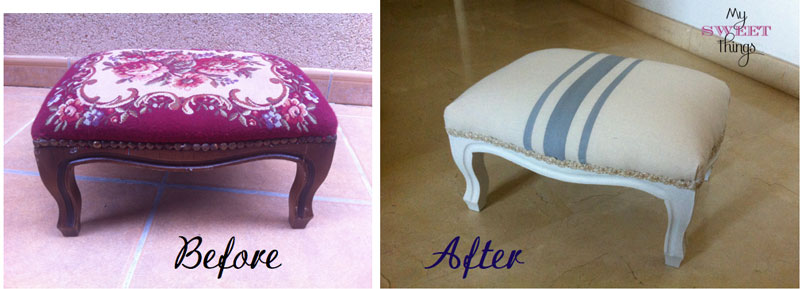 How to update easily a foot stool with some fabric and paint - Before & After