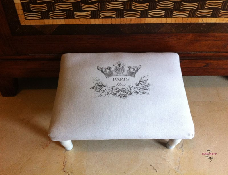 The French Foot Stool with spray varnish transfer