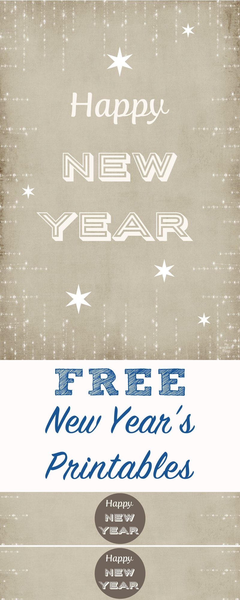Free New Year's Printables   |    Free download and ready to print to add some decor to your party   |   Via www.sweethings.net