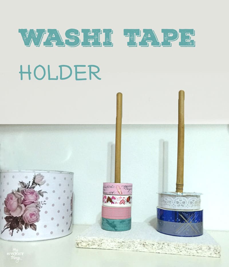 How to easily make a washi tape holder using scrap wood and a cane