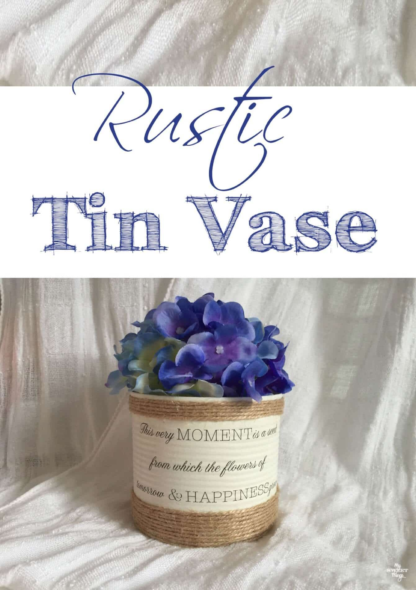 How to make a rustic tin vase out of an old tin with decoupage and twine