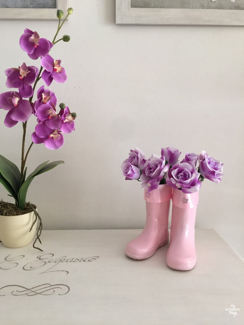 How to make some flower vases out of a pair of old rain boots