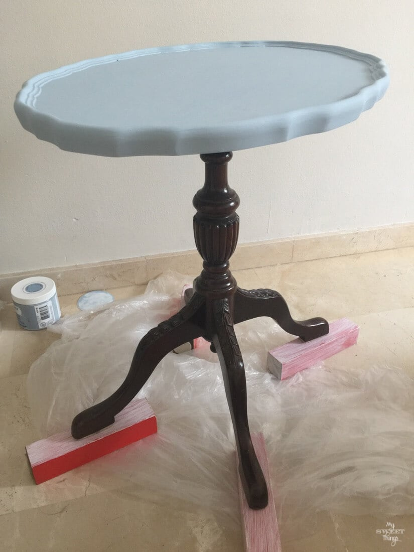 Old side table being transformed into a two toned one with some paint  |  My Sweet Things