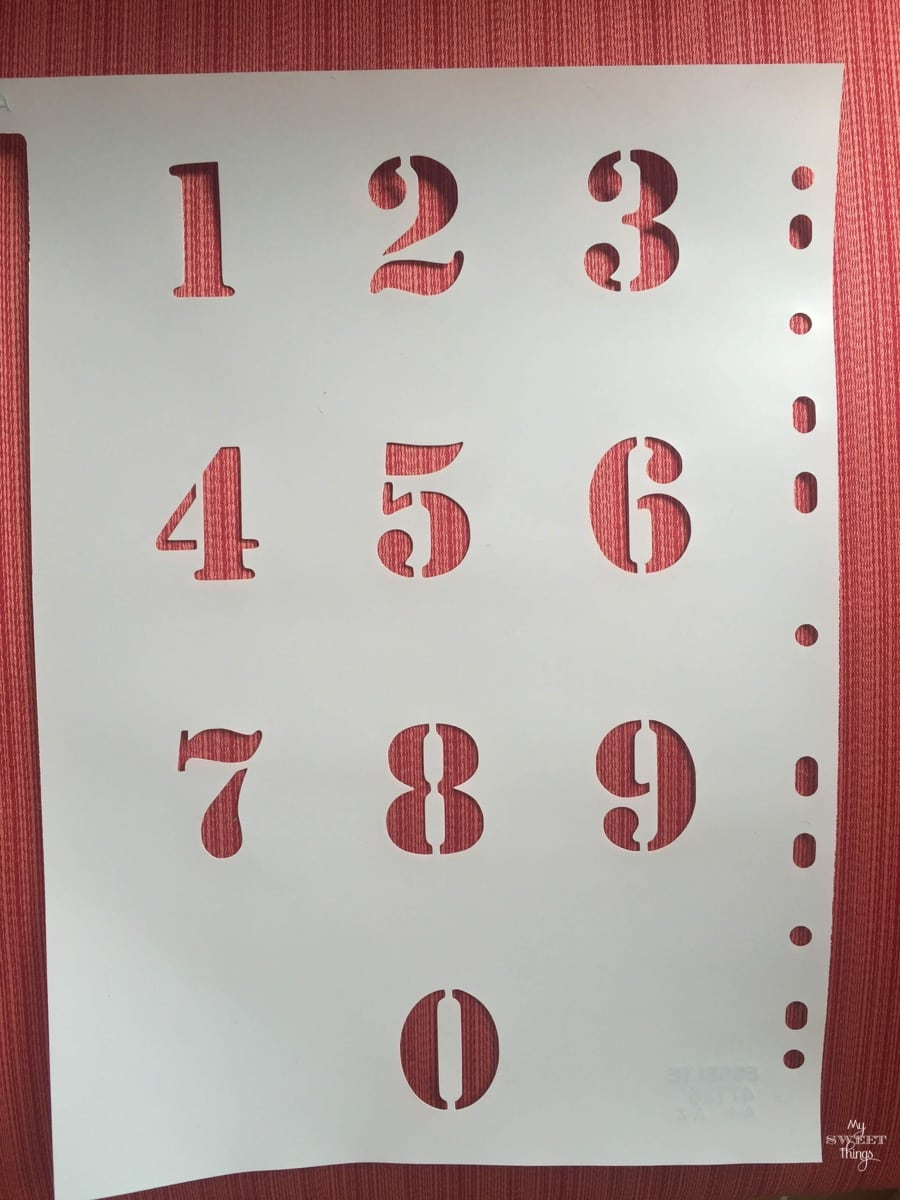 Coastal Filing Cabinet Makeover Using Saltwash - stencil numbers