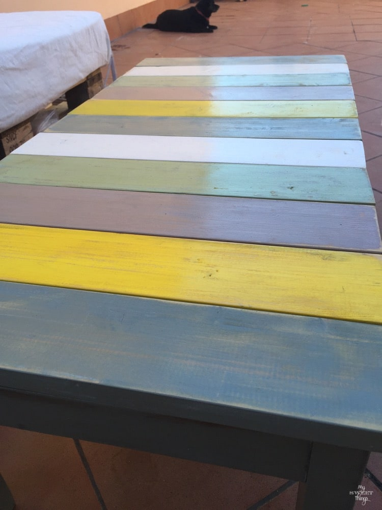How to make a colorful wood slat table the easy way with some wood and paint