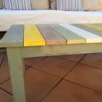 Colorful wood slat table 24
