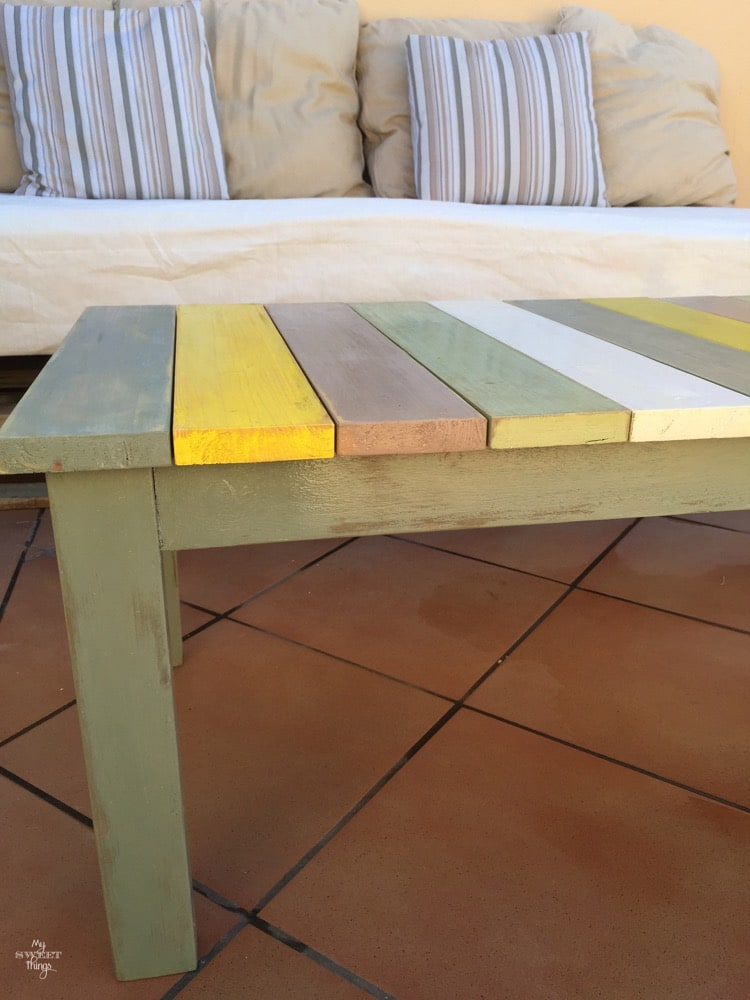 Colorful wood slat table 24