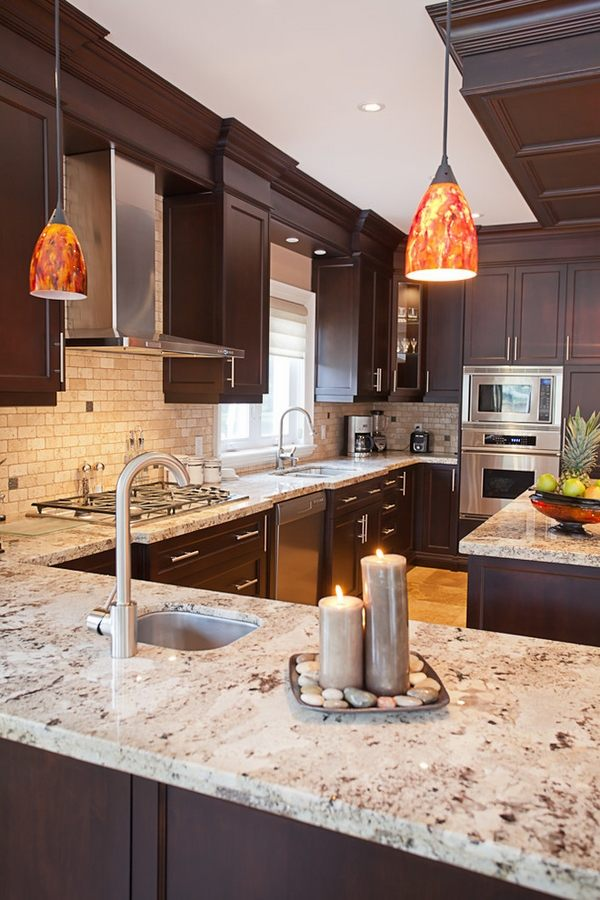 Granite kitchen countertops dark wood cabinets | My Sweet Things