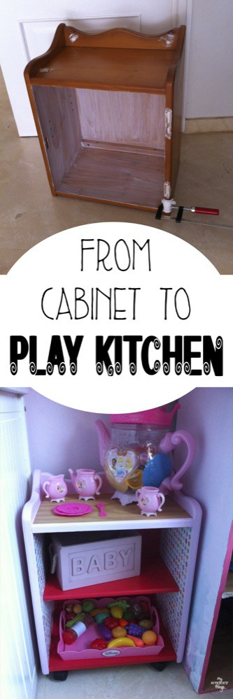The before and after of a cabinet found curbside which was transformed into a play kitchen with paint, decoupage and wheels | My Sweet Things