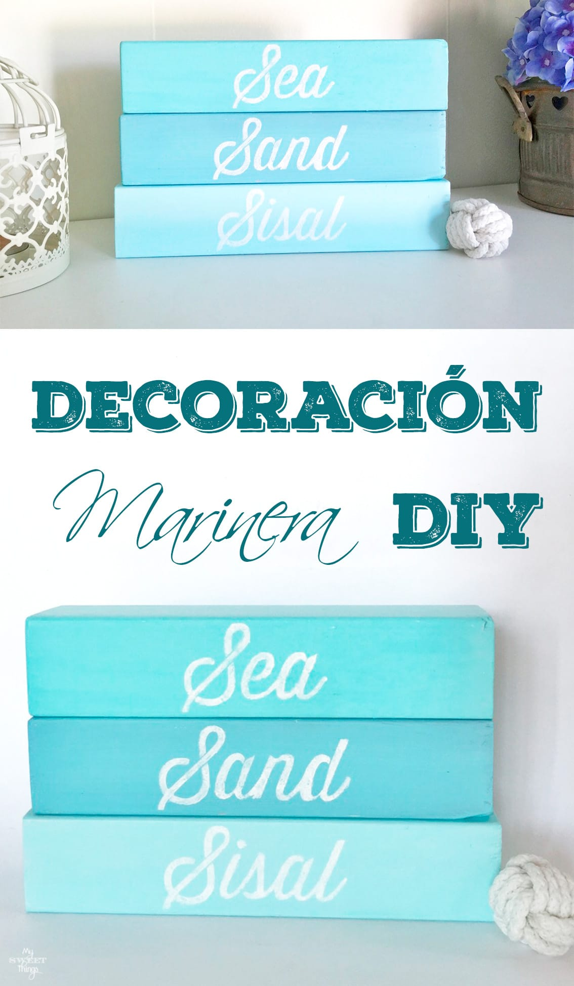 Decoración marinera DIY con madera y pintura  ·  My Sweet Things
