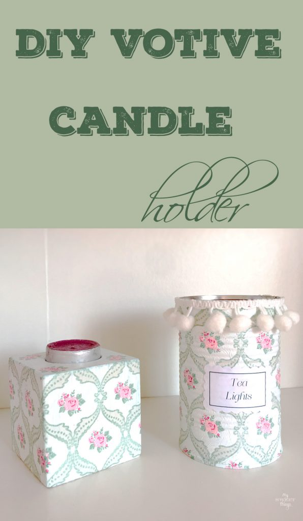 DIY votive candle holder with some wood, paint and napkins. Easy and pretty home decor project