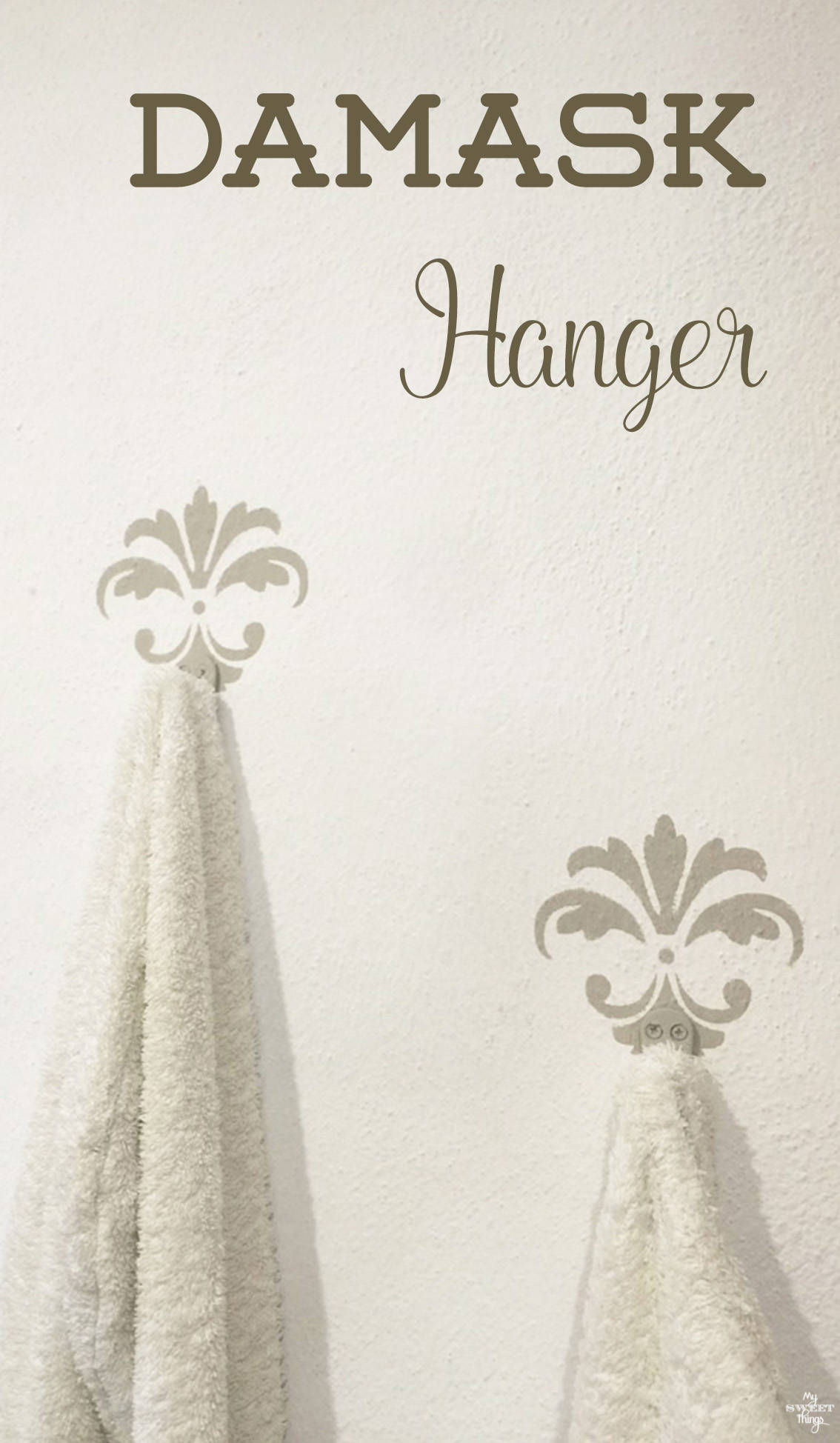 DIY damask hangers made with some paint and stencils