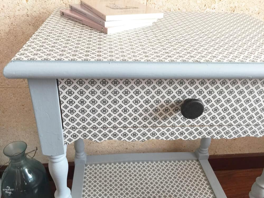 Transform furniture with decoupage and milk paint - I used Slate and Snow White