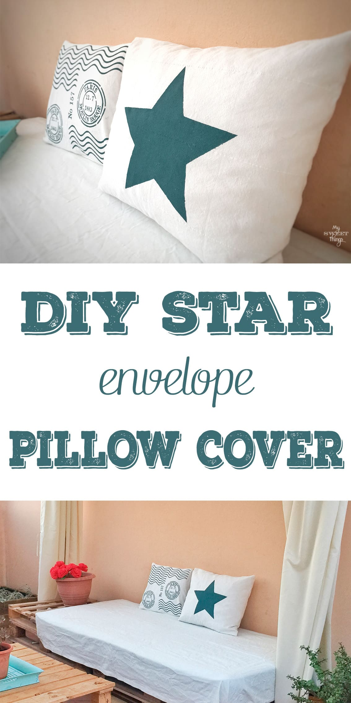 How to make a DIY star envelope pillow cover with some fabric, paint and a stencil made by yourself