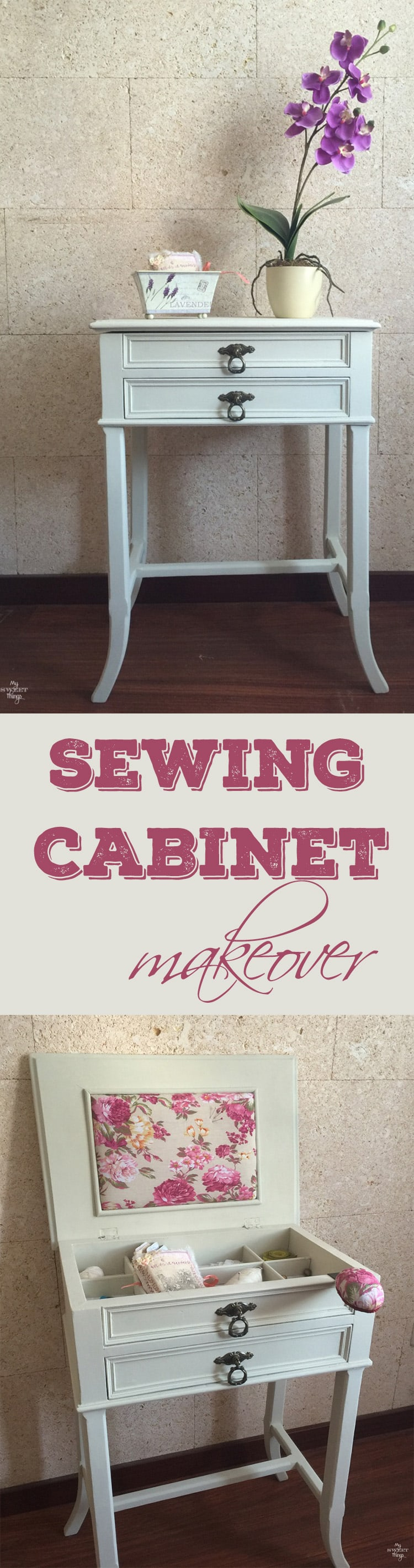 Sewing cabinet makeover from an old sewing cabinet with paint and some pretty fabric