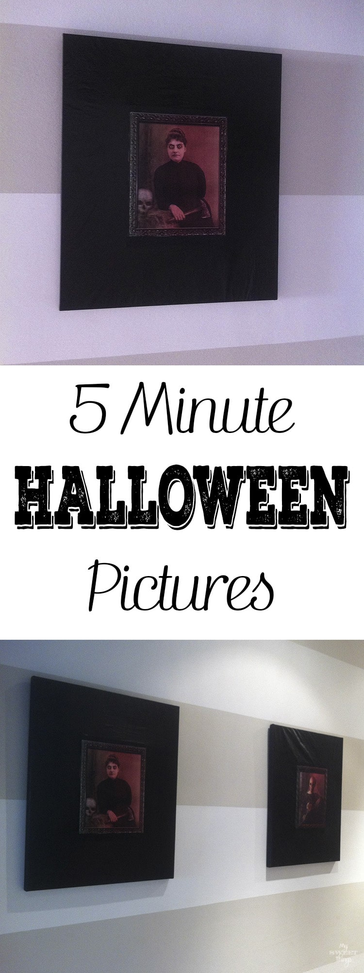 5 Minute Halloween pictures - An easy DIY you can do with your kids as part of your Halloween decor on a budget · Via www.sweethings.net