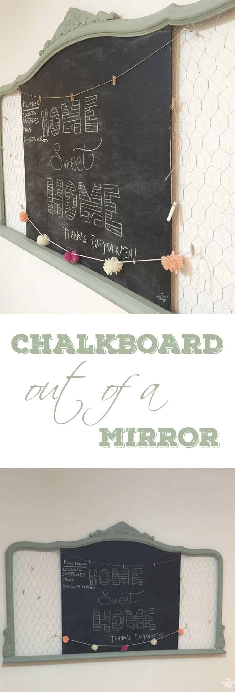How to make a chalkboard out of a mirror with some paint and chicken wire · Via www.sweethings.net