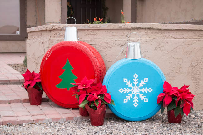 Christmas ornaments · 15 Different Uses For Tires · Some easy ideas to recycle old tires · Via www.sweethings.net