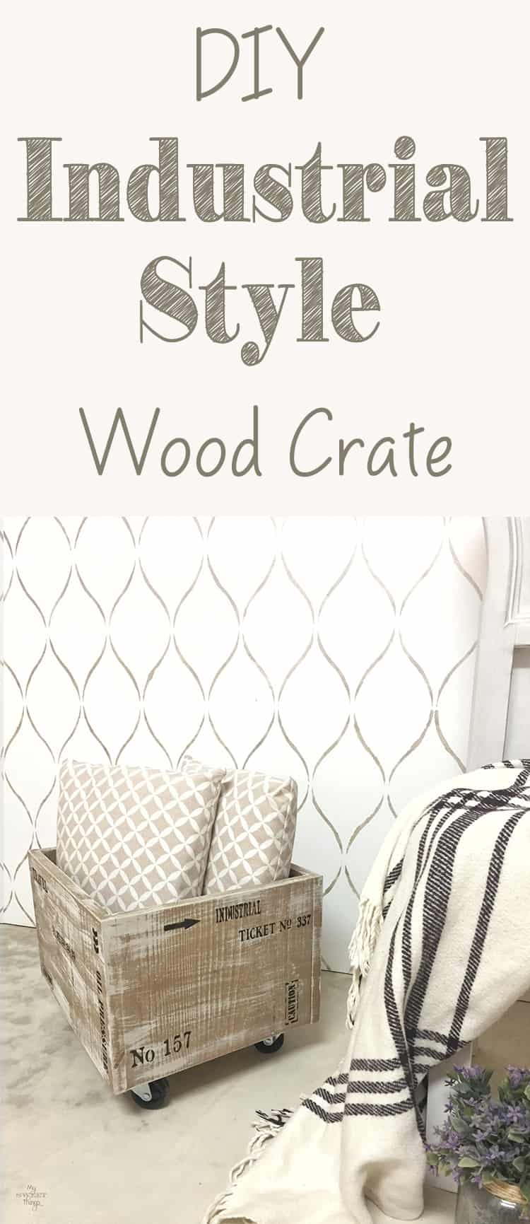 How to make an easy industrial style wood crate with some paint and stencils · Via www.sweethings.net