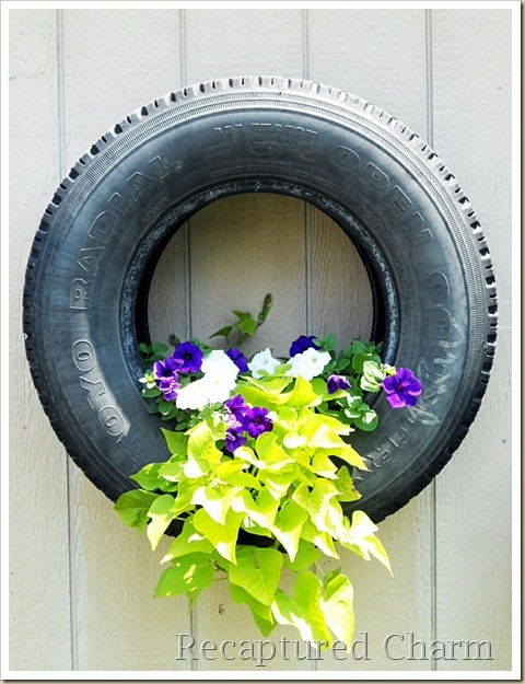 Hanging Planter · 15 Different Uses For Tires · Some easy ideas to recycle old tires · Via www.sweethings.net