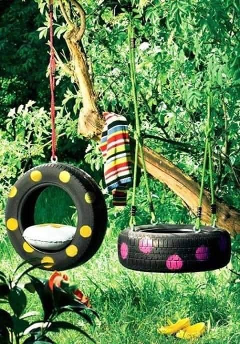 Swings · 15 Different Uses For Tires · Some easy ideas to recycle old tires · Via www.sweethings.net