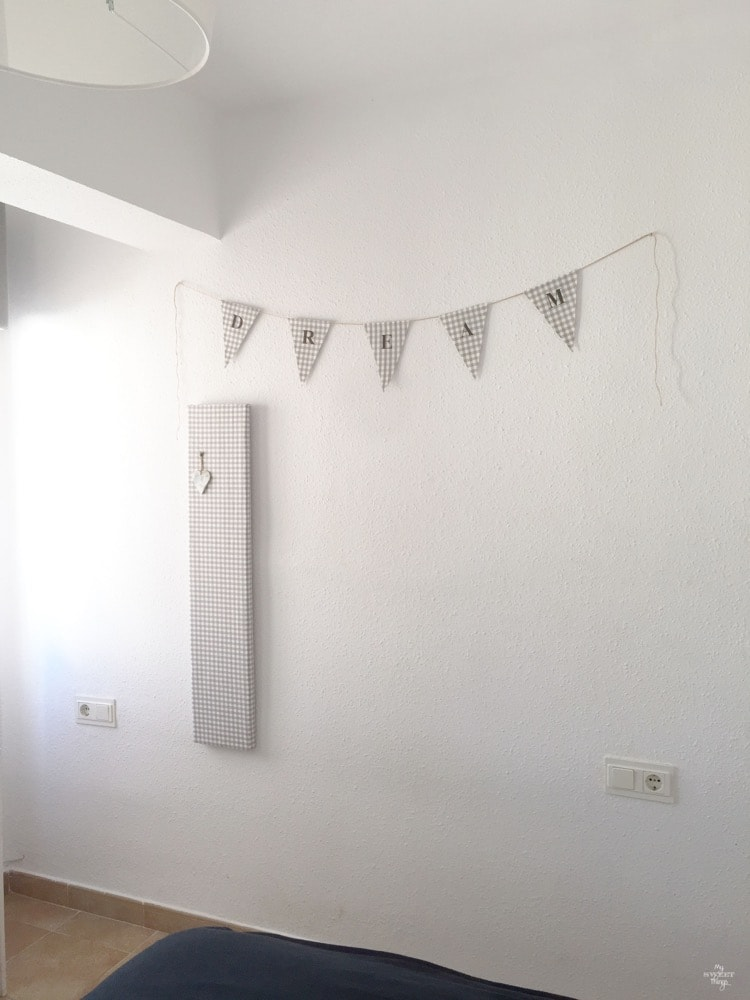 How to get a bright look in your bedroom on a budget, some coordinated fabric bunting · Via www.sweethings.net