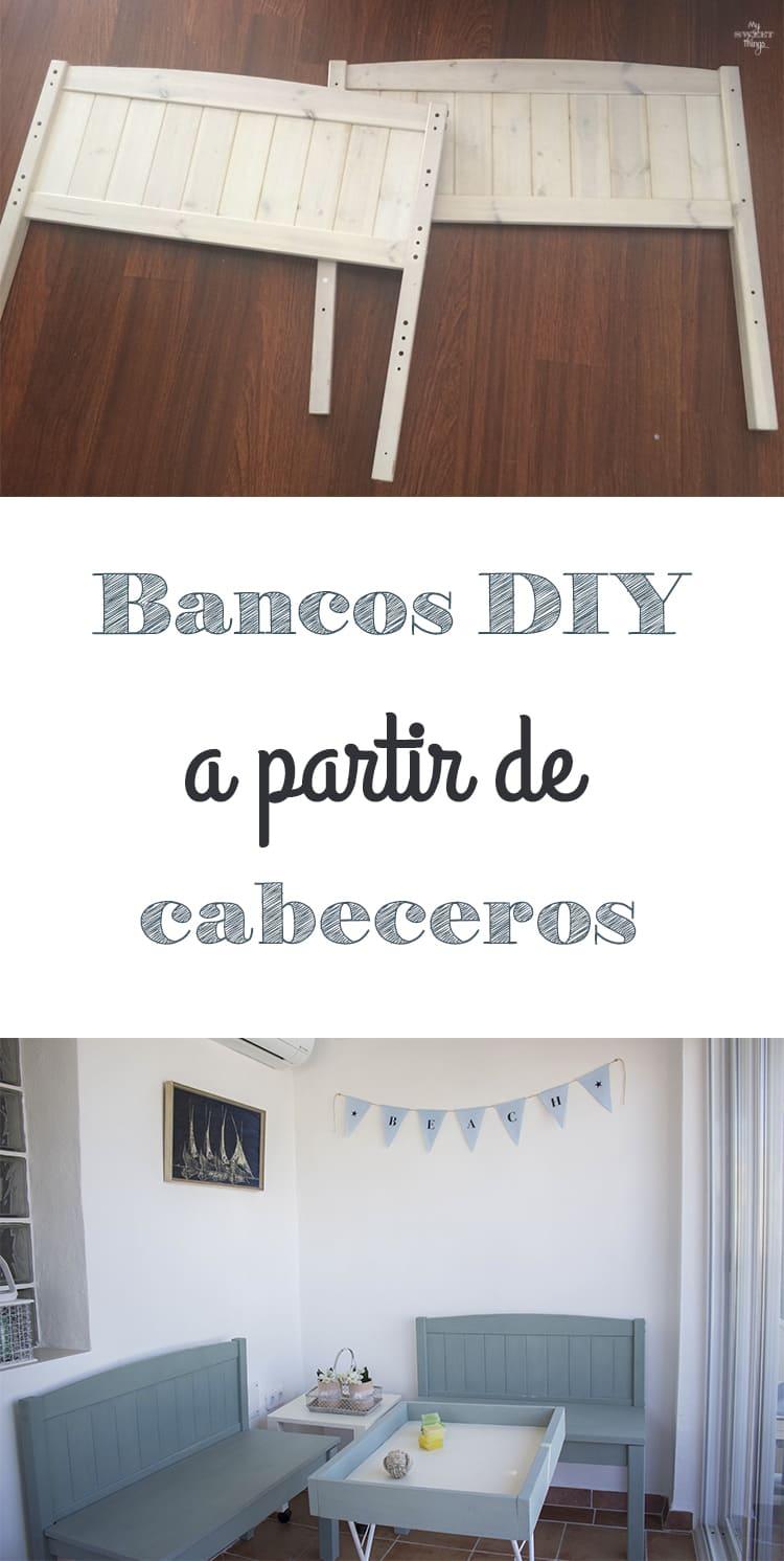 Como reciclar cabeceros para hacer unos bancos DIY con madera y pintura de leche  ·  Via www.sweethings.net