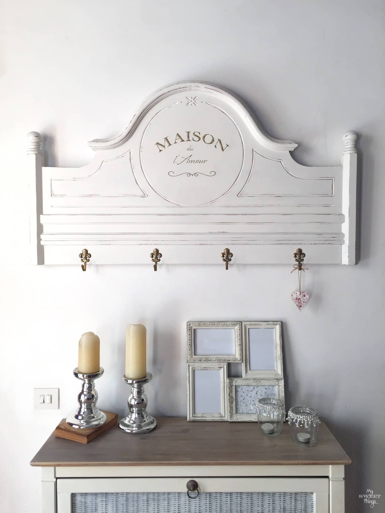 How to make a rack from a footboard  ·  Via www.sweethings.net