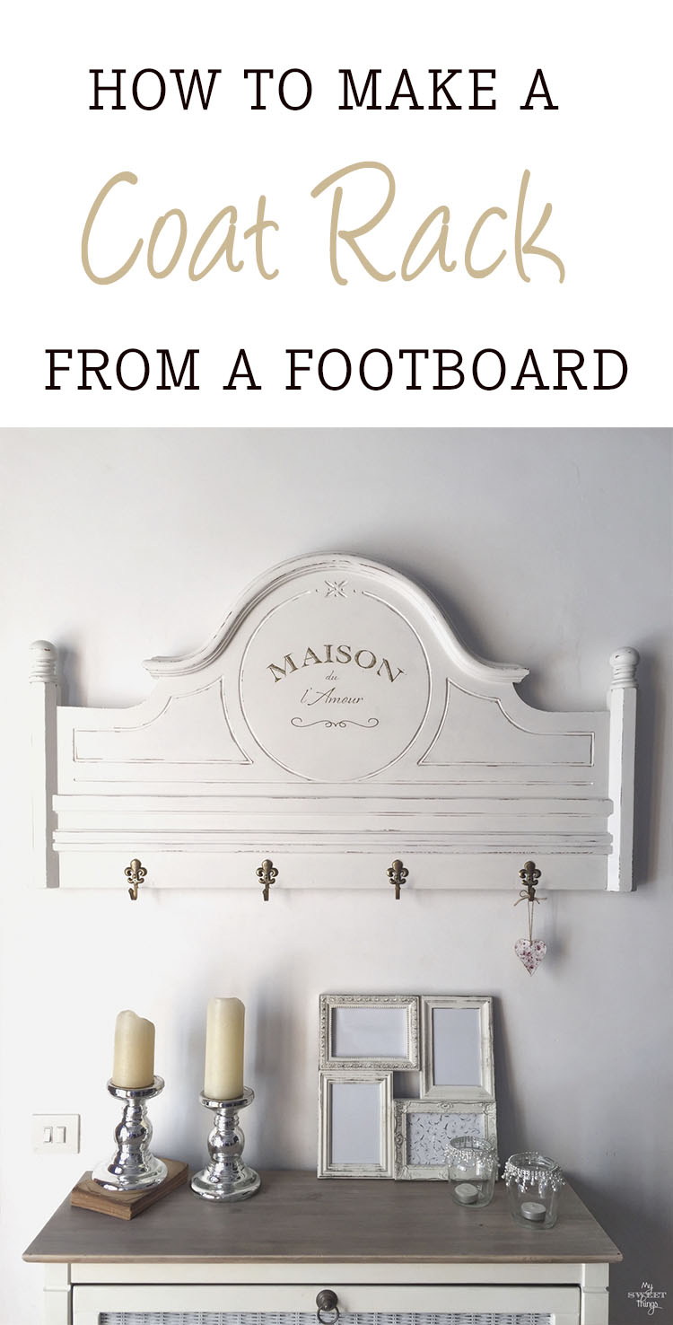 How to make a coat rack from a footboard  ·  Via www.sweethings.net