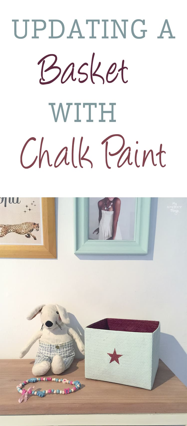 Updating a basket with chalk paint can be done easily and in less than 30 minutes and you end up with a beautiful piece of home decor  ·  Via www.sweethings.net