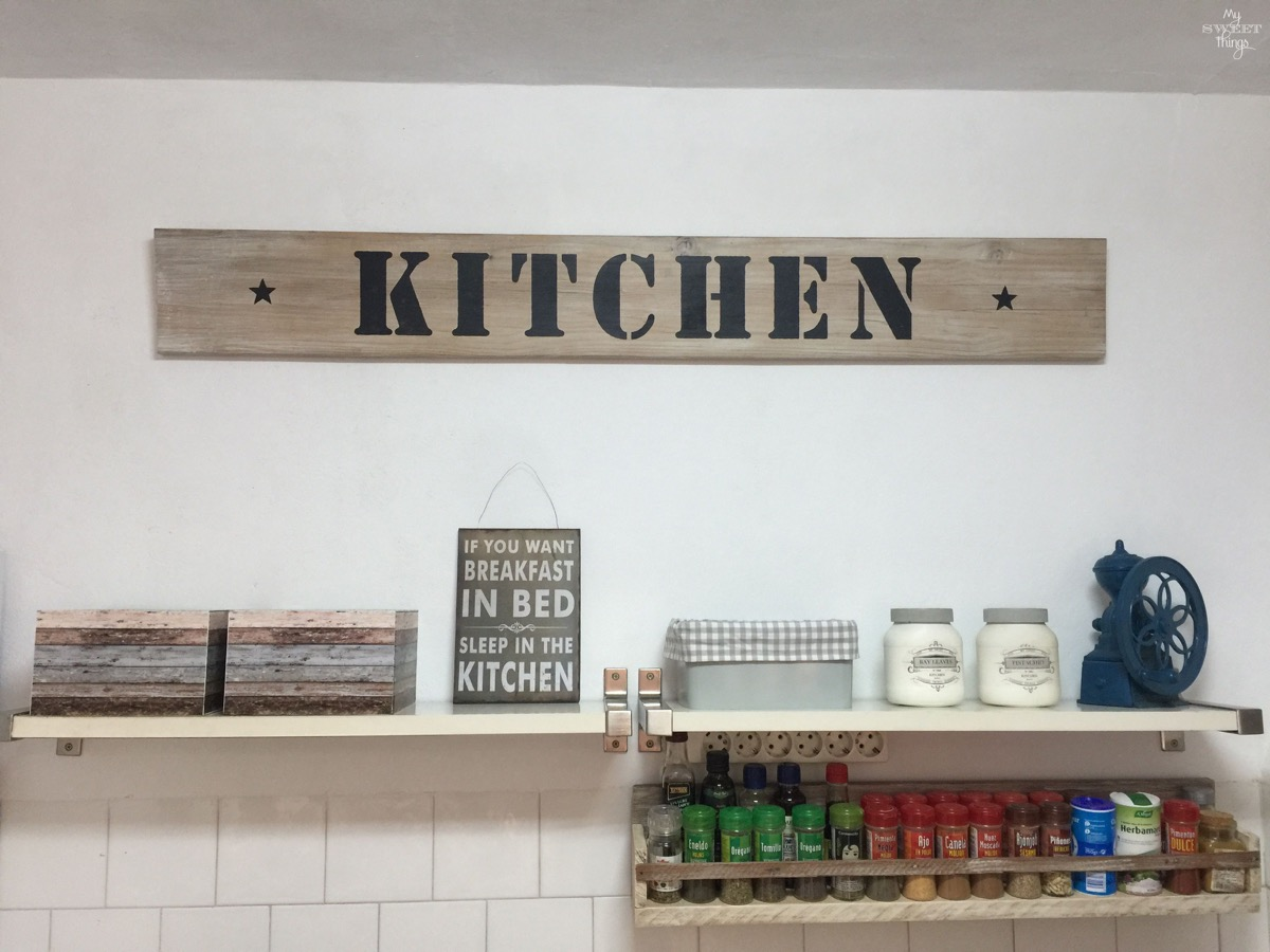DIY Kitchen makeover on a budget | #kitchen #makeover #remodel #farmhouse #diy #homedecor #sign #spicerack | Via www.sweethings.net