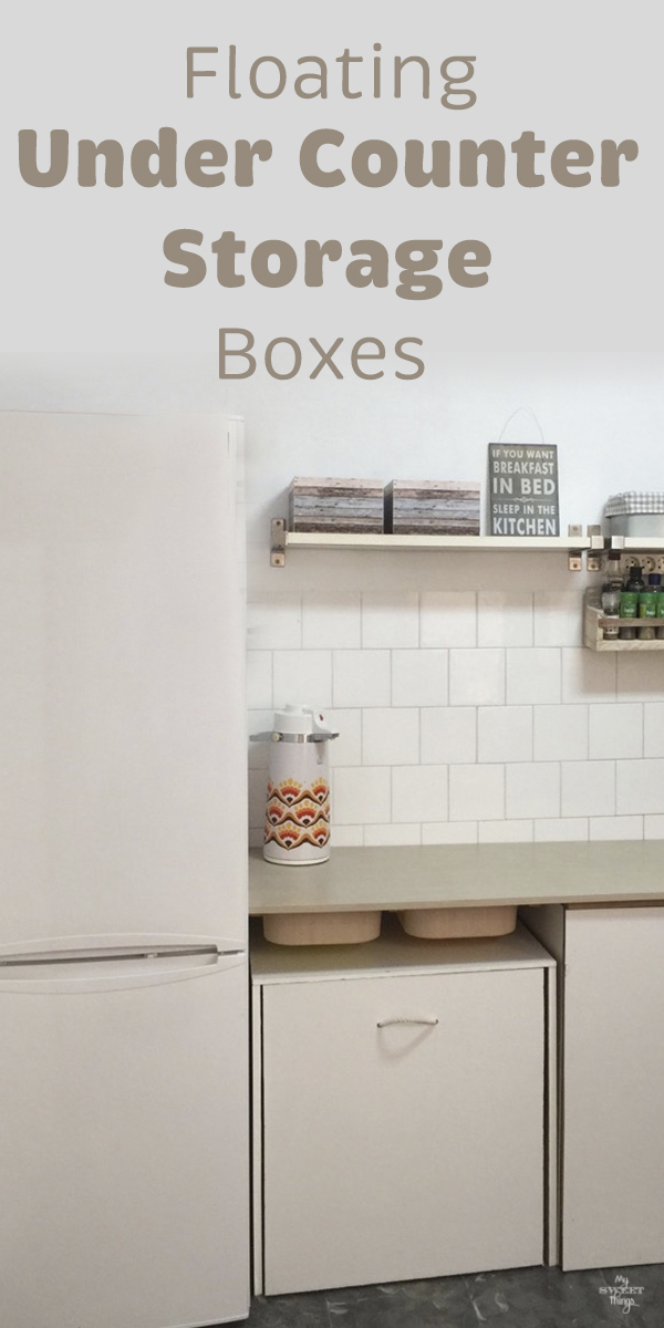 Floating under counter storage boxes · Kitchen makeover · Via www.sweethings.net #kitchen #storage #counter #boxes #ikeahack