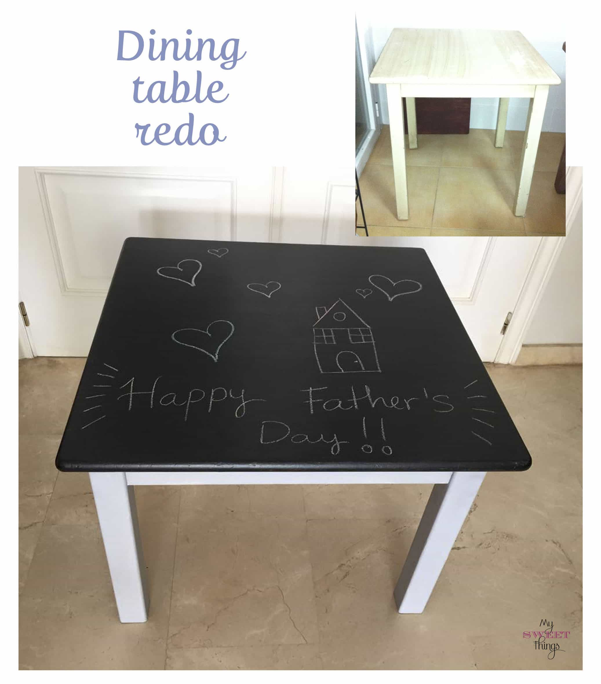How to transform a dining table into a chalkboard table | Via www.sweethings.net