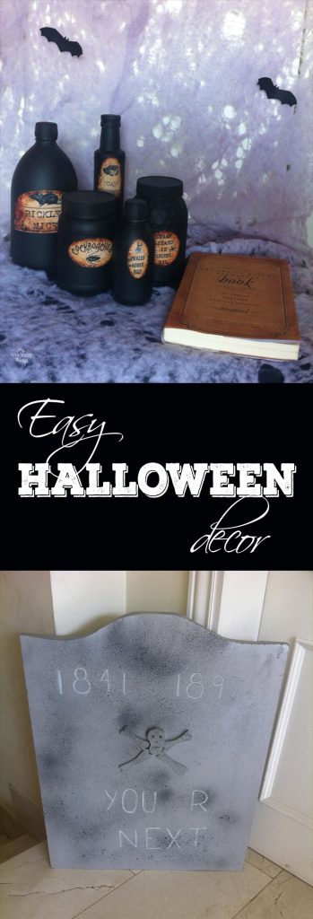 Easy Halloween decor for your home. You can make some DIY tombstones and add some potions and a book of spells, all within a budget · Via www.sweethings.net