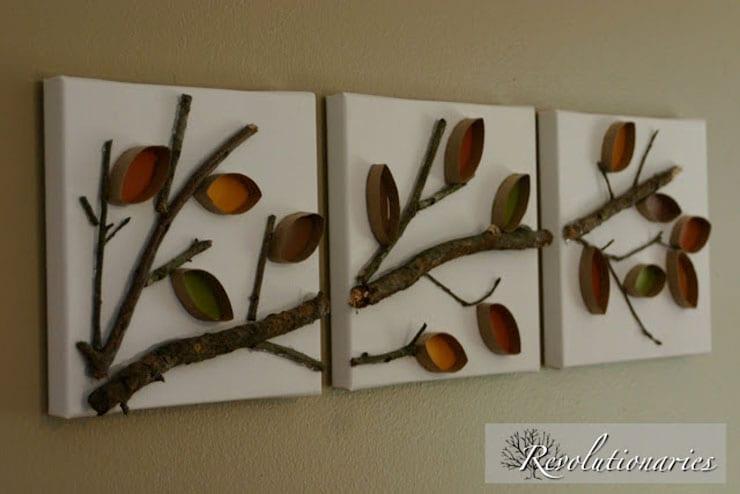 Cuadros de árboles y ramas con rollos de carton | Reciclar | DIY | Via www.sweethings.net