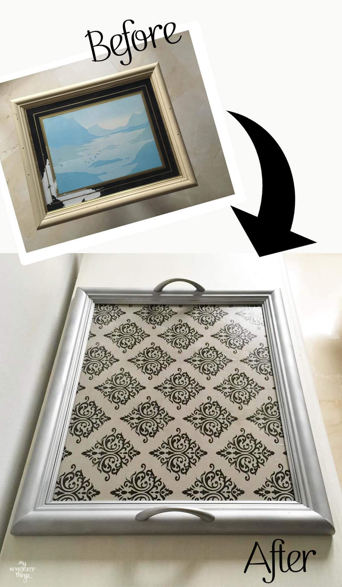 How to transform a picture frame into a tray | #Repurpose an old picture | Via www.sweethings.net #upcycling #makeover #tray #damask