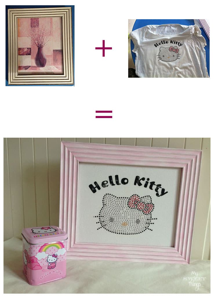 Hello Kitty T-Shirt Upcycle | Take an old frame plus an old t-shirt and make a pretty picture | Via www.sweethings.net