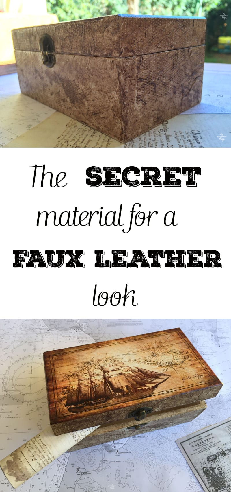 The secret material for a faux leather look, using some glue and dark wax too · My Sweet Things