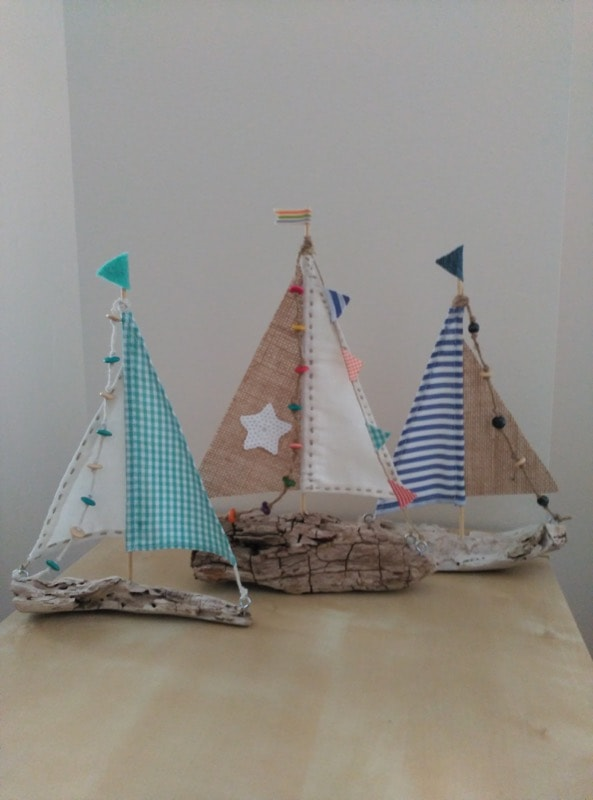Driftwood boats with fabric · Rincón de los lectores · Via www.sweethings.net