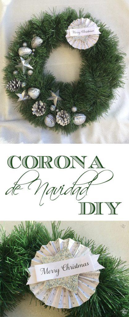 Cómo hacer una corona de Navidad casera fácil y elegante, usando cartón, piñas, nueces y una guirnalda | Via www.sweethings.net