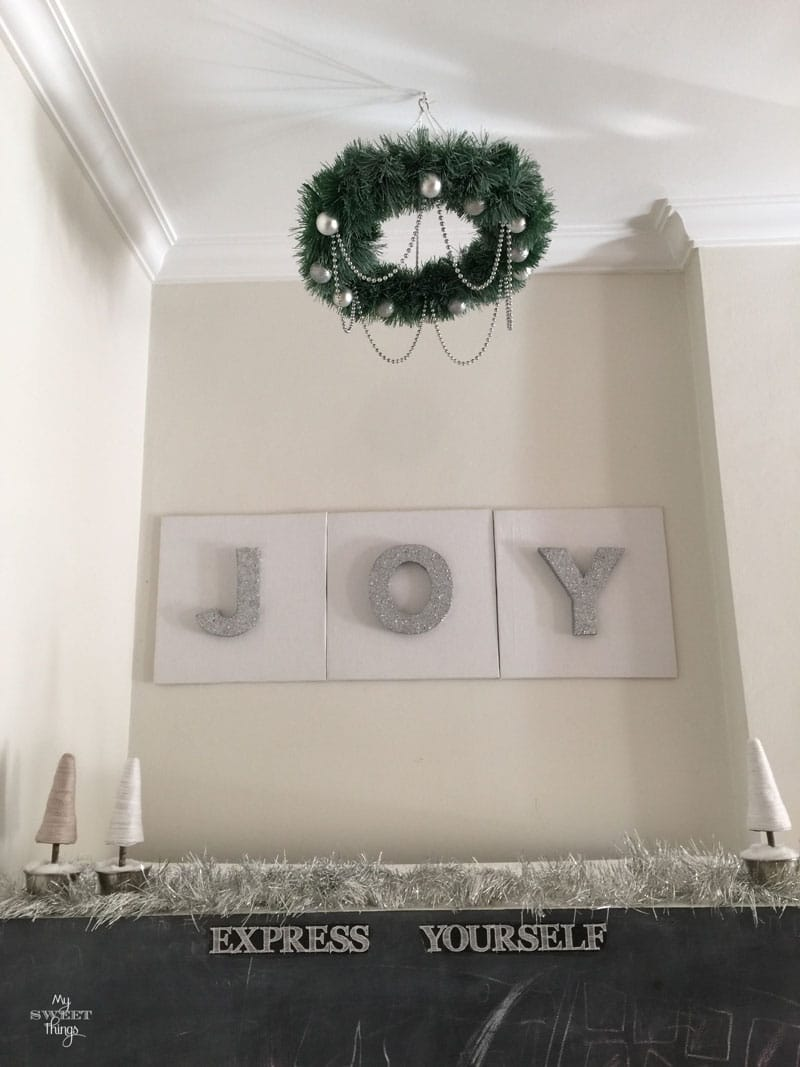 Home for Christmas Blog Hop | How to add sparkle to your home with an easy DIY joy sign and chandelier | Via www.sweethings.net