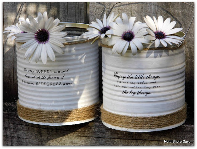 How to make a rustic tin vase out of an old tin with decoupage and twine · Via www.sweethings.net #rustic #tin #can #vase