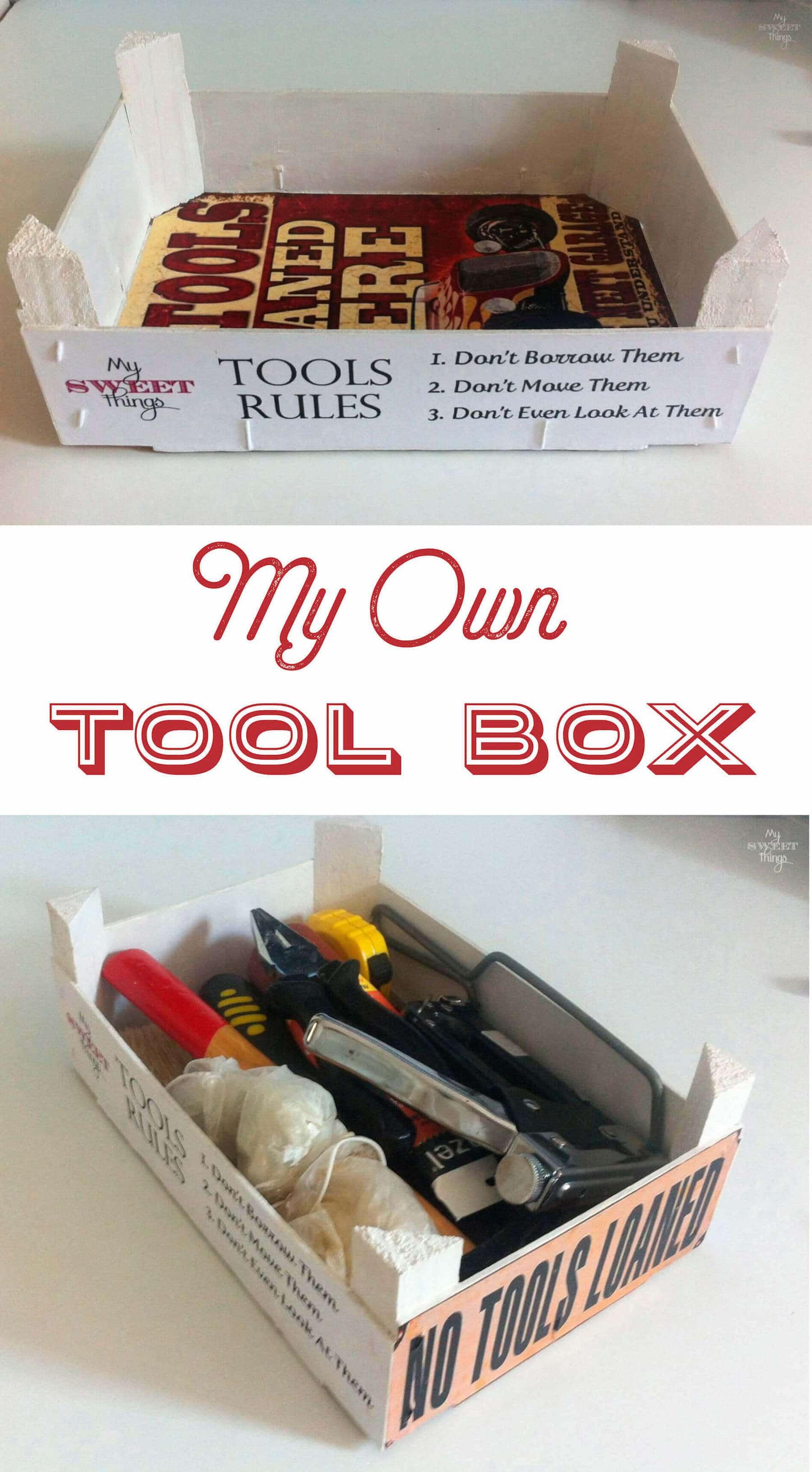 Como convertir una caja de fresas en una caja de herramientas | Via www.sweethings.net
