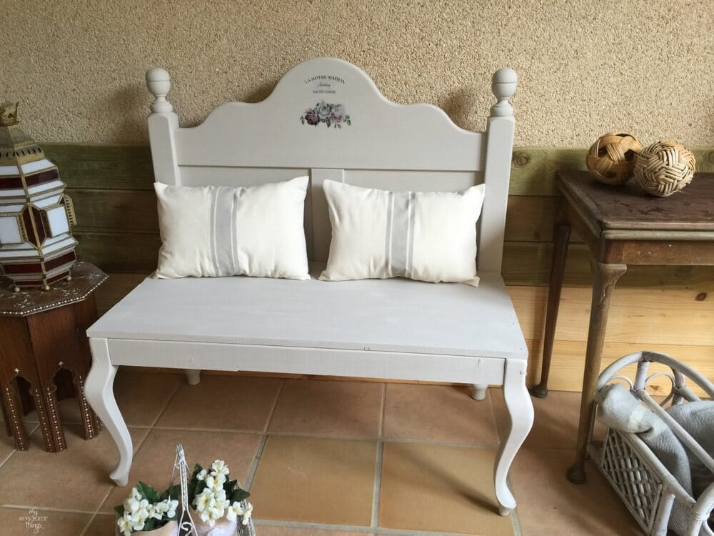 How to repurpose a headboard into a bench and make it French style with a graphic and some grain sack style pillows