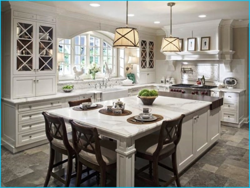 Light granite kitchen countertops with white wood cabinets | My Sweet Things