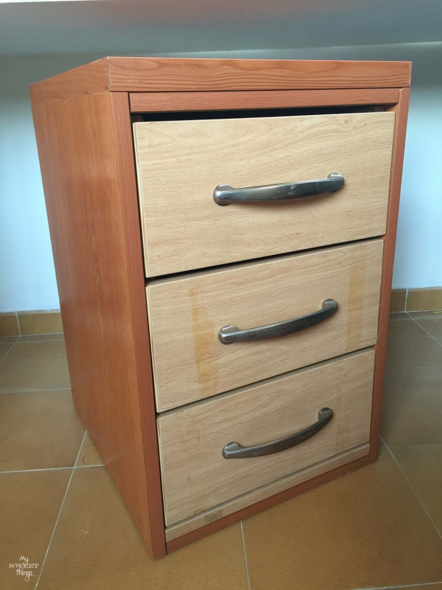 Coastal Filing Cabinet Makeover Using Saltwash - The before
