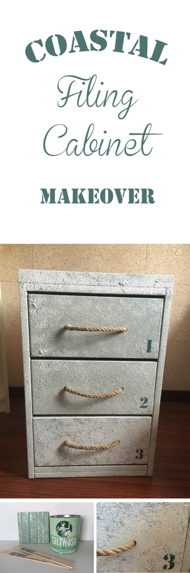 Coastal filing cabinet makeover using Saltwash for a coastal and weathered look with rope as handles